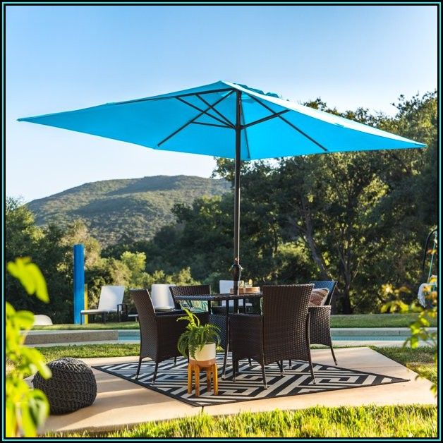 Blue Rectangle Patio Umbrella