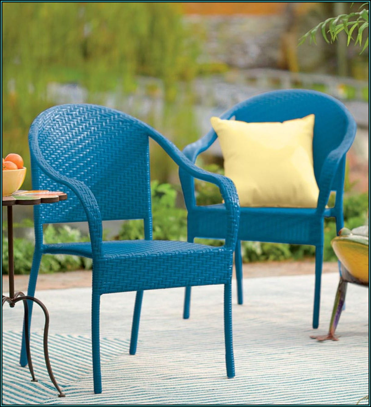 Blue Stacking Patio Chairs