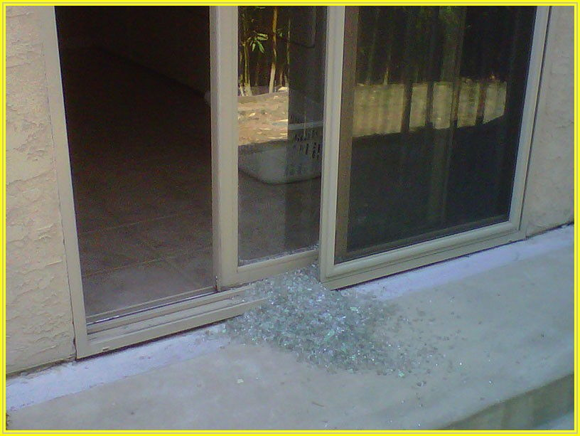 Broken Glass Sliding Patio Door