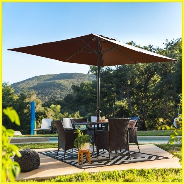 Brown Rectangular Patio Umbrella