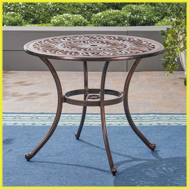 Brown Round Patio Table