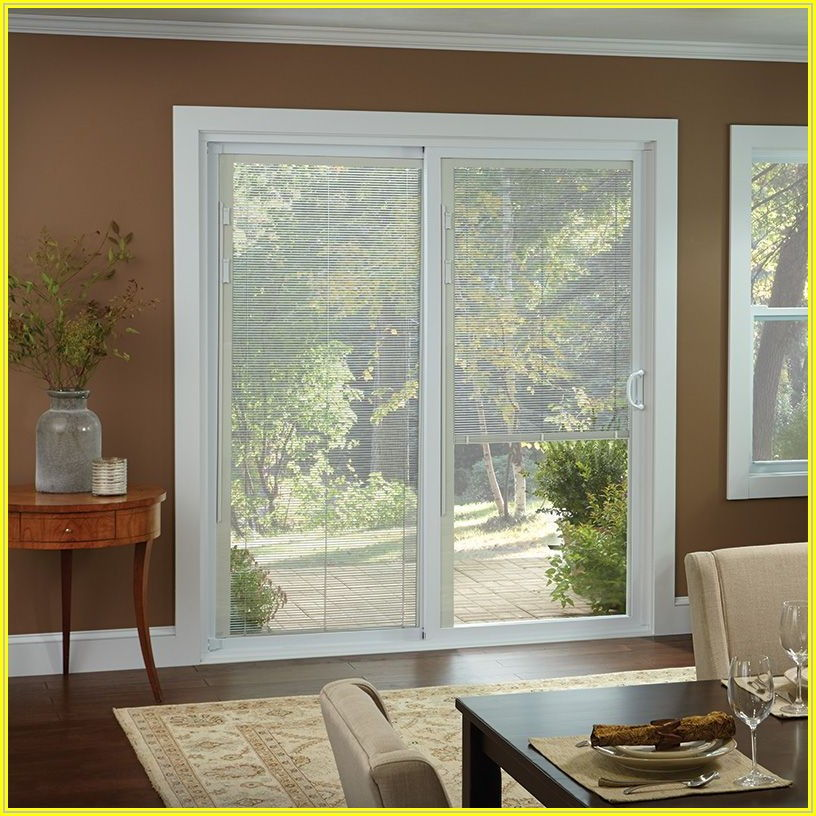 Brown Sliding Patio Doors With Built In Blinds