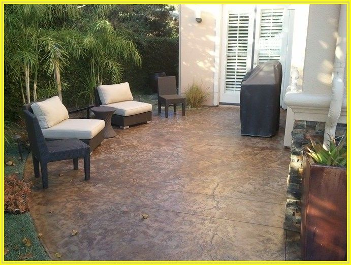 Brown Stained Concrete Patio