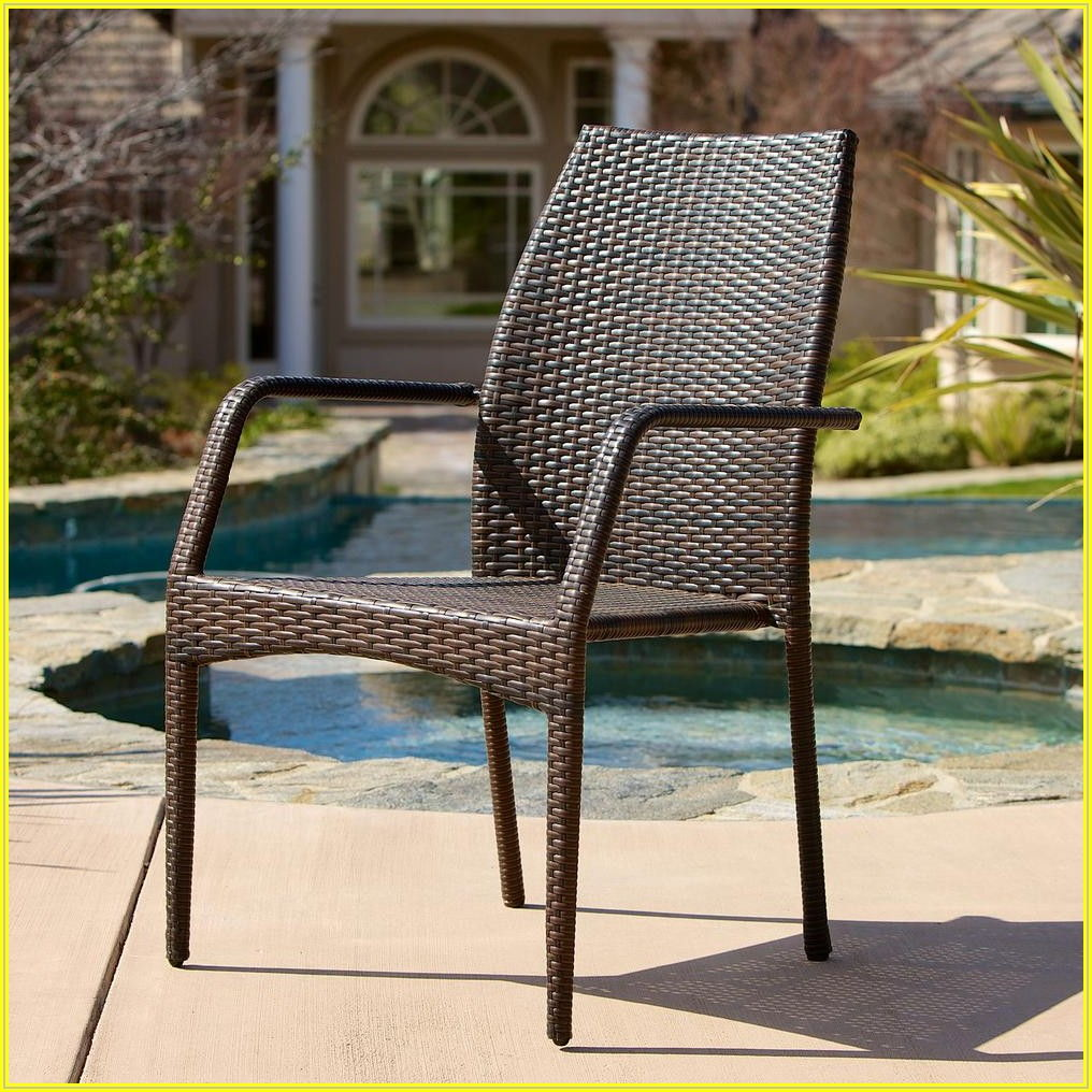 Brown Wicker Patio Dining Chairs