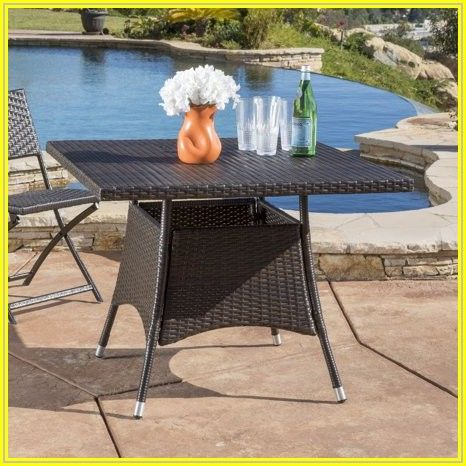 Brown Wicker Patio Dining Table