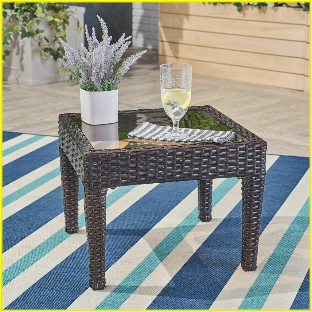 Brown Wicker Patio Side Table
