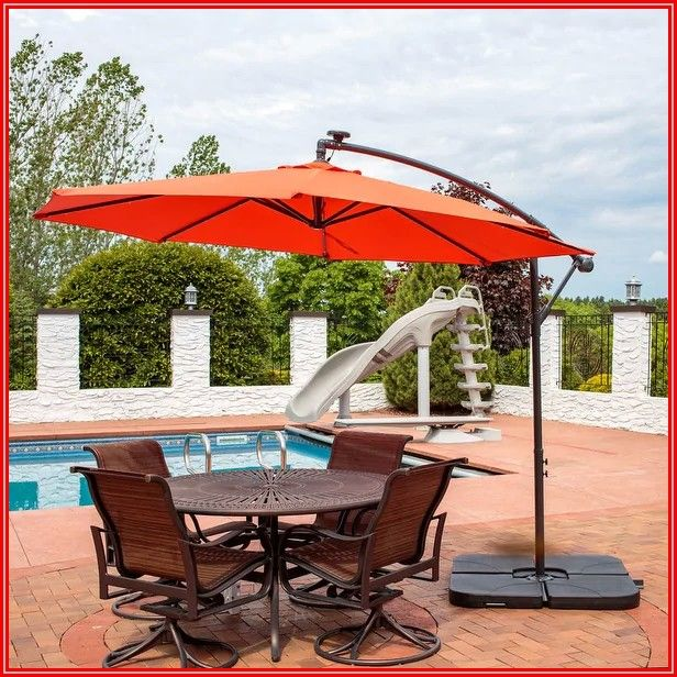 Burnt Orange Patio Umbrella With Lights