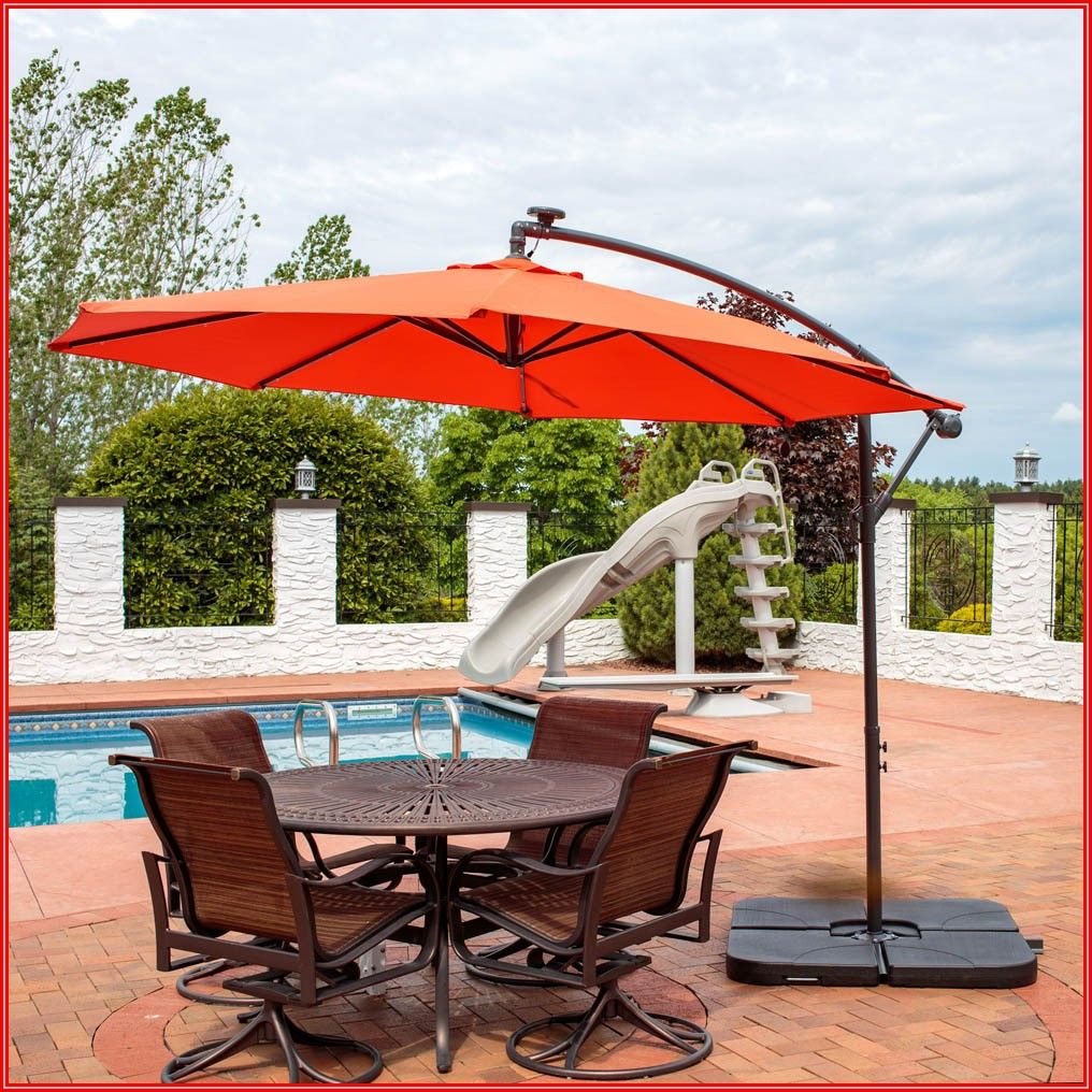 Cantilever Patio Umbrella With Lights And Base