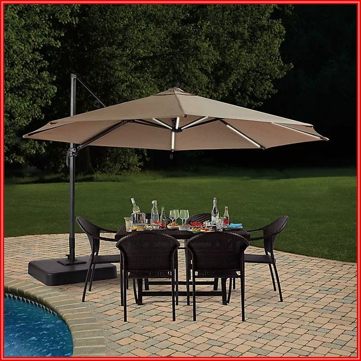 Cantilever Patio Umbrella With Solar Lights