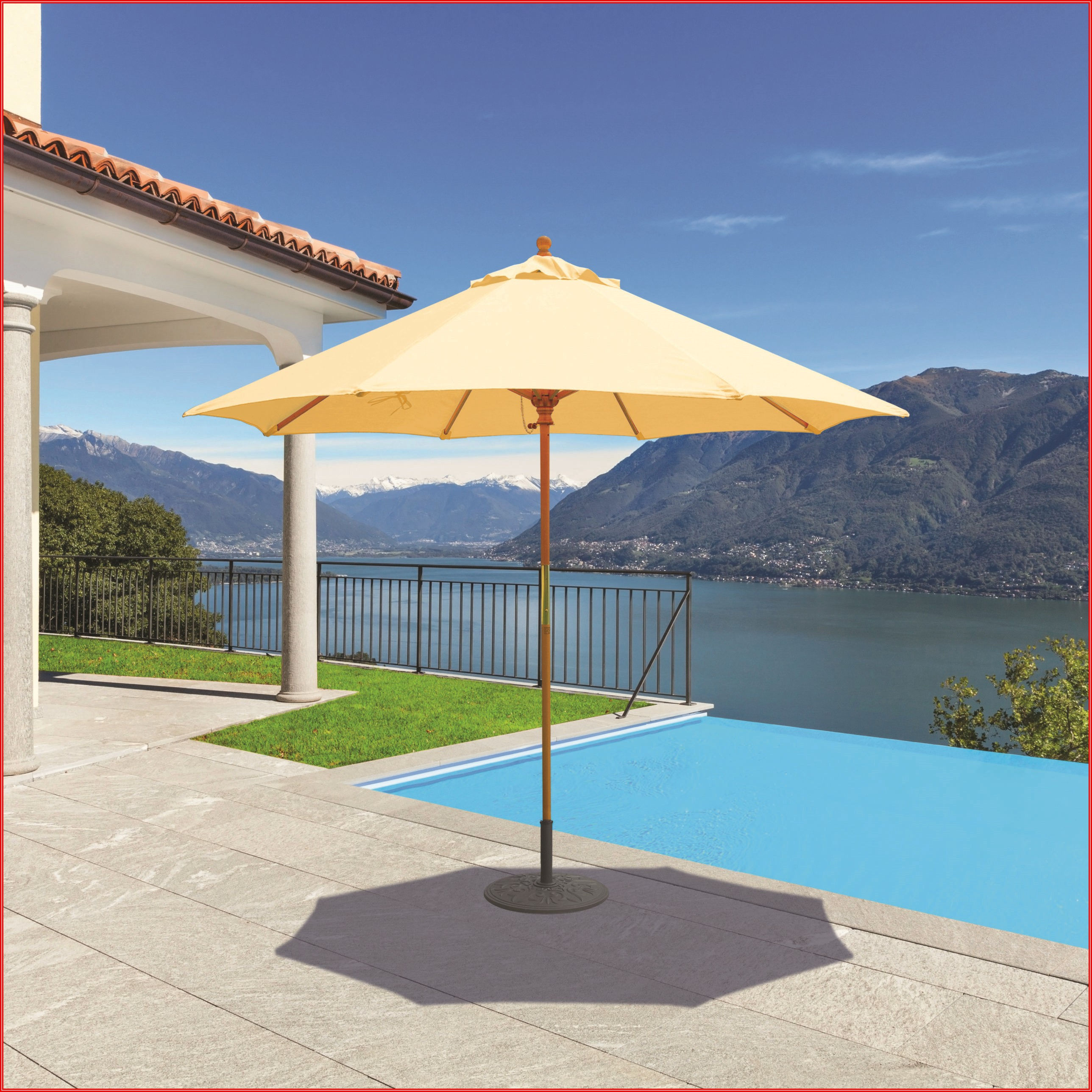 Canvas Patio Umbrella Wooden