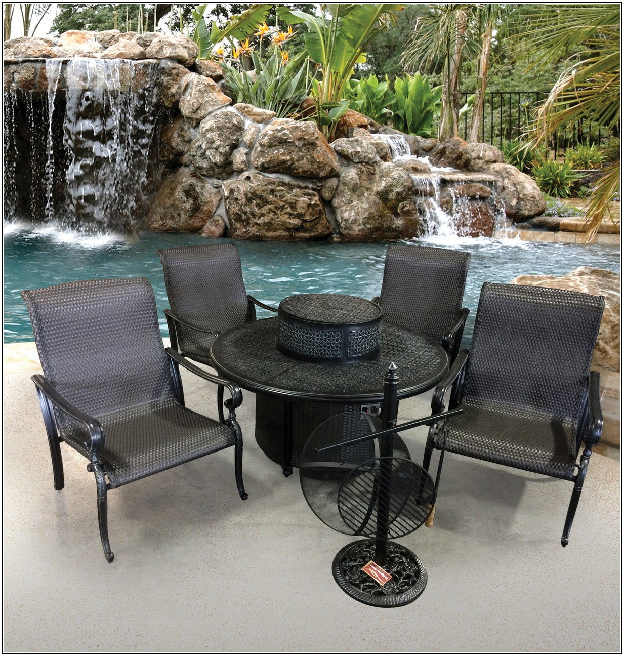 Cast Aluminum Fire Pit Patio Table Set