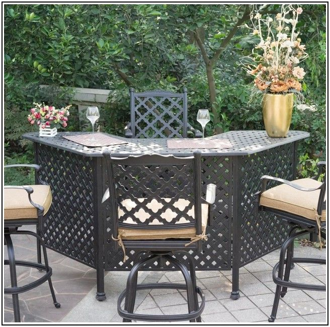 Cast Aluminum Patio Bar Set