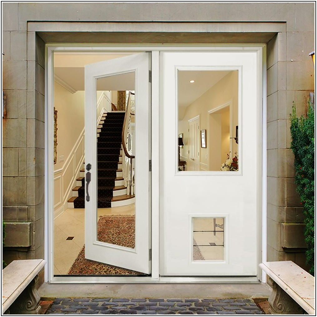 Center Hinged Patio Door With Dog Door