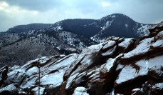 The famous Colorado Red Rocks covered in snow.