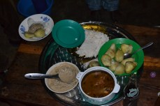 Here is the meal which Geoffrey's wife made us.