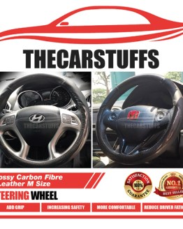 Glossy Carbon Fibre + Leather M Size Steering Wheel Cover