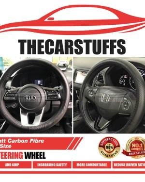 Matt Carbon Fibre Full Black Steering Wheel Cover