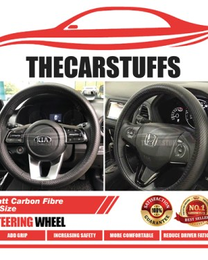 Matt Carbon Fibre Full Black Steering Wheel Cover