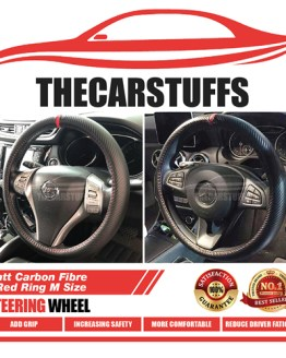 Matt Carbon Fiber Red Ring With Stitches Steering Wheel Cover