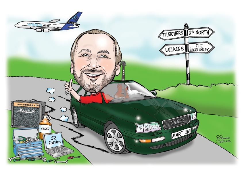 caricature of a guy sat in a Audi car, aeroplane in sky, road sign post