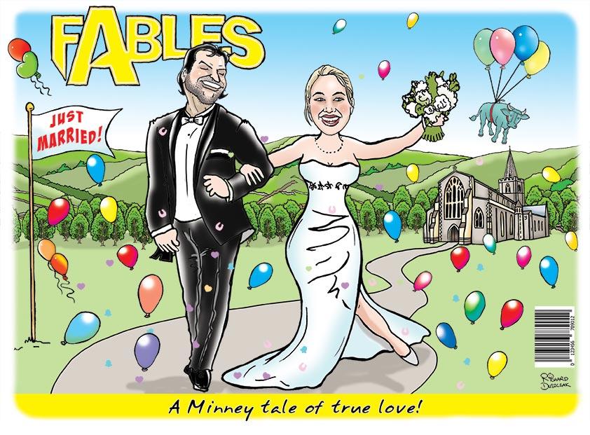 Wedding day caricature - Fables - nursery tale of true love