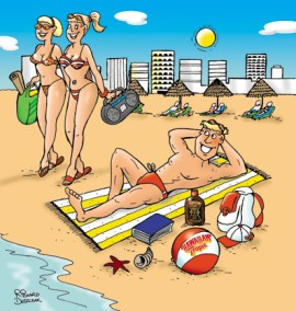 cartoon of guy on a beach with two sun bronzed ladies walking by