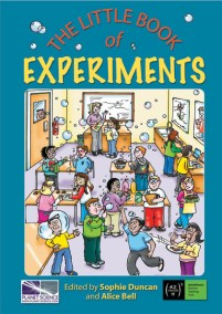 book cover illustration for The Little Book Of Experiments. Kids in a classroom setting