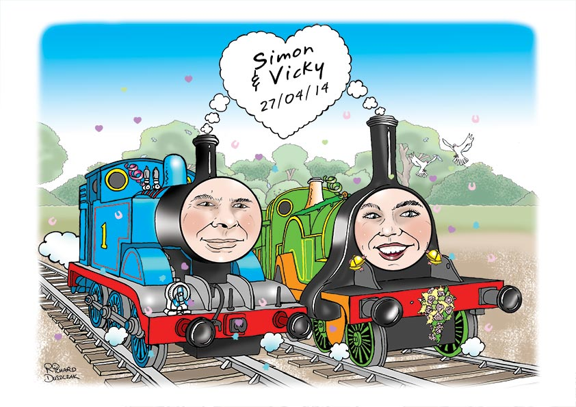 Thomas the Tank Engine - wedding day caricature featuring Thomas and another of the train engines