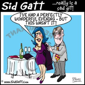 Sid Gatt cartoon character holding a coat for a lady - wine and glasses on table.