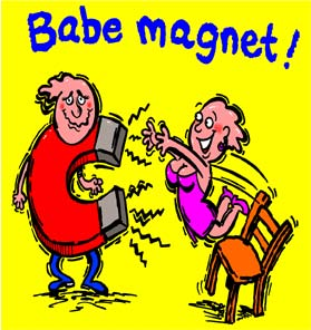 cartoon of guy with a magnet as a body is walking past a babe who is magnetised because he is a babe magnet