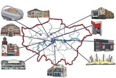 10-Famous-Music-Venues-map-quiz. London's music venues including O2 Arena, Ronnie Scott's