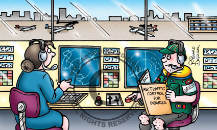 cartoon of Boy Scout air traffic controller, planes on runway in background