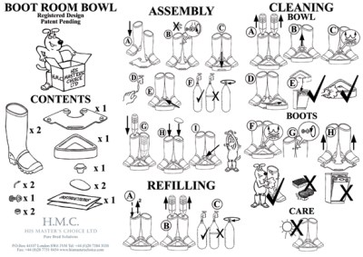 Boot Room Bowl instructions illustrated with dog cartoon, illustrations of wellies, wellingtons