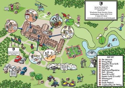 Botley-Park-hotel-cartoon-map, golf course, helicopter pad, wedding venue