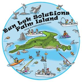 cartoon map of BunLek-Palm-Island, canning, fishing, wind surfing, killer whales, swimming
