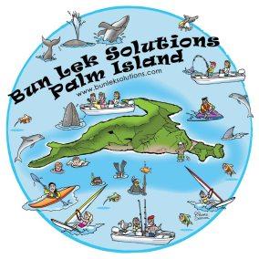 cartoon map of BunLek-Palm-Island, canning, fishing, wind surfing, killer whales, swimming