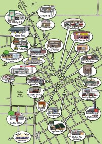 Choteau-Cartoon-Map in the US, highlighting different businesses