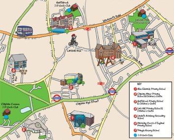 Clapham Manor-Cartoon Map, school bus, school buildings and bus routes