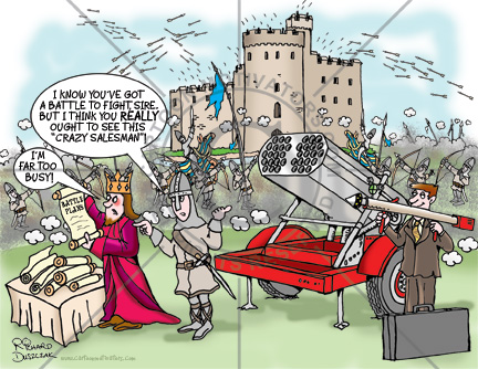 crazy salesman cartoon - a salesman is trying unsuccessfully to sell a rocket launcher to a king who is too busy to talk to him. There's a battle raging in the background that could be finished quickly with the rocket launcher.