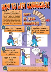 health and safety cartoons, how to lift correctly cartoon strip showing guy lifting correctly, don't do your doughnut, picture of spine made up of doughnuts and and erupting jam out of it