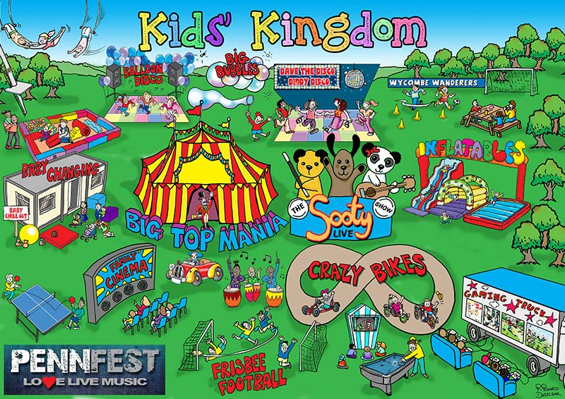 Kids Kingdom - cartoon map. Crazy bikes, big top tent, Sooty and Sweep entertainment