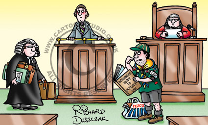 cartoon of boy scout in court room conducting the defence against a barrister who knows what he is doing