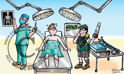 cartoon of Boy Scout holding a saw in one hand - giggling. He's in an operating theatre, patient doesn't look too happy on operating table