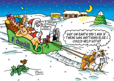 corporate Christmas card design for Churchill Insurance - Churchy the dof pulling sleigh with Santa and Rudolf sat in it