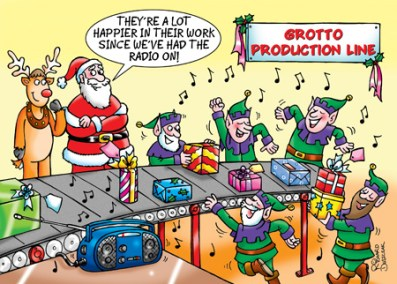 Corporate Christmas card design for Lincs FM radio station, Santa and his elves are all happily working and dancing to the music around the grotto production line