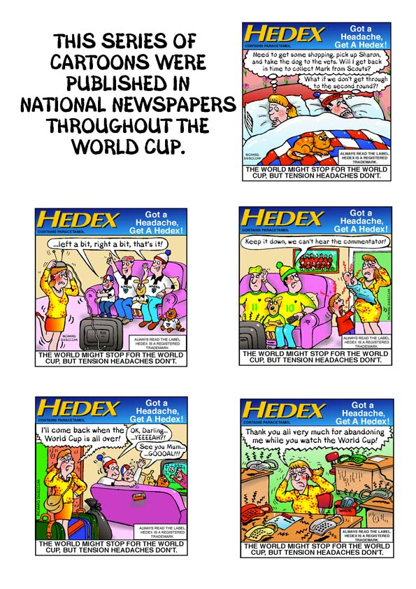 Hedex advertising cartoons for a World Cup promotion