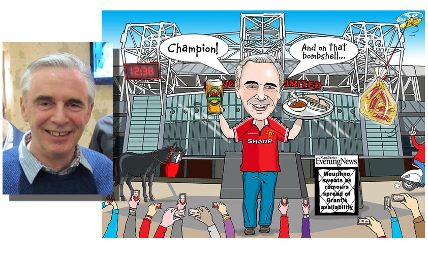 caricature of a guy stood outside Manchester United football ground used as a presentation gift on a retirement
