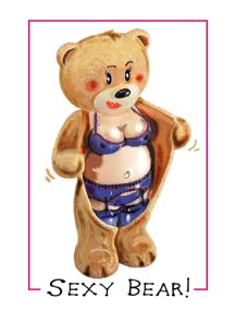 valentine greeting cards of a sexy bear ripping open her fur to reveal stockings and suspenders