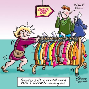greetings card design of lady pushing a rack of clothes to the check out - a credit card meltdown coming on