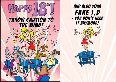 greetings card design, Happy 18th, lady dancing on table at birthday party, crowd of friends sat around drinking
